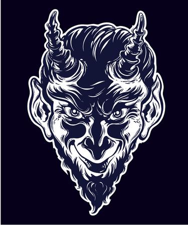 Vintage style hand drawn devil or demon portrait.