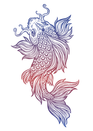 Beautiful hand drawn Koi carp fish.