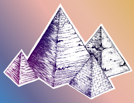 Egyptian pyramids composition in hand drawn dot work style. Vintage sights and landmarks in Egypt. Isolated vector illustration. Can be tattoo, bag print, t-shirt print, sticker and travel.