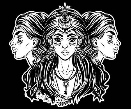 Magic godess Hecate. Triple faced beautiful woman with long hair, key and moon. Bohemian, wiccan divine girl. Fantasy, spirituality, Greek mythology, tattoo art, witchcraft. Vector illustration