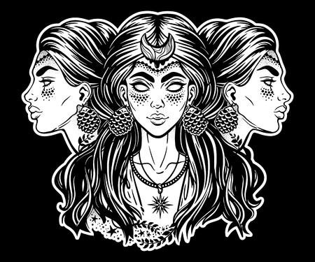 Magic goddess Hecate Vector illustration on black background. Illustration