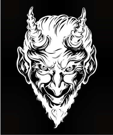 Vintage style hand drawn devil or demon portrait.