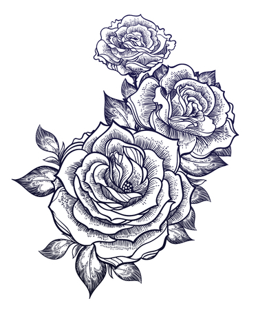 Boho flash tattoo linear style beautiful roses. Vector illustration. Çizim