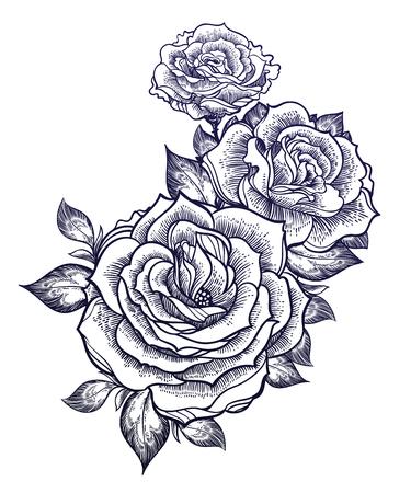 Boho flash tattoo linear style beautiful roses. Vector illustration. Vettoriali