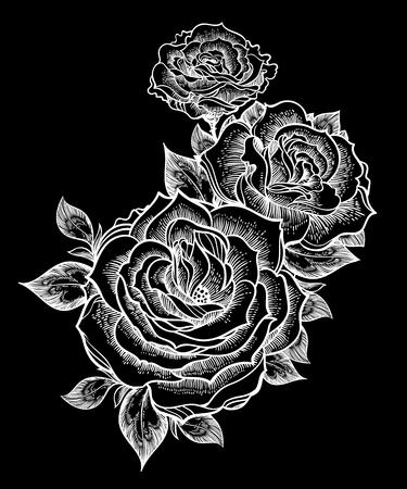 Boho flash tattoo linear style beautiful roses. Ilustracja