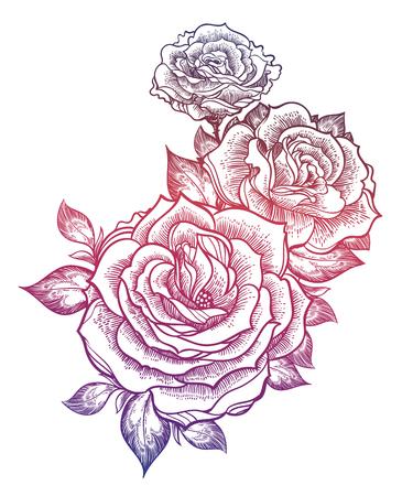 Boho flash tattoo linear style beautiful roses. Vettoriali