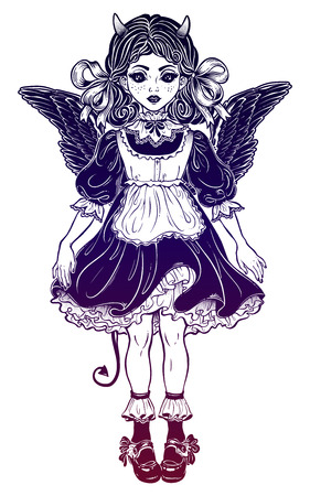 Evil gothic devil victorian little girl or a doll. Illustration