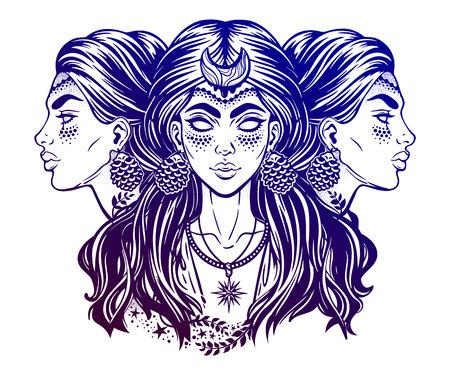 Magic goddess Hecate. Illustration