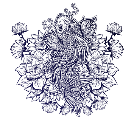 Beautiful coy carp fish with lotus flowers.