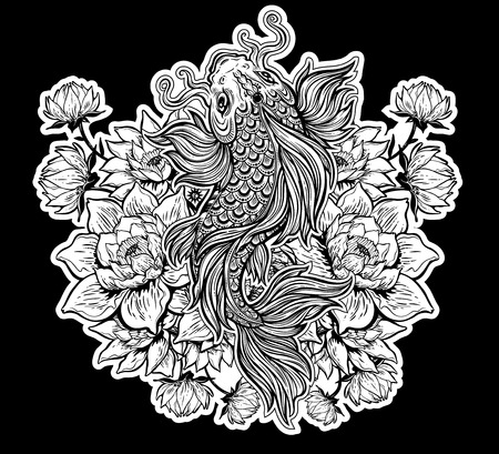Beautiful Koi carp fish with lotus flowers.