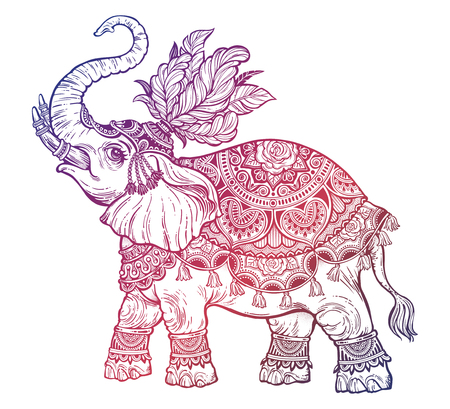 Vintage Indian ethnic boho elephant with feathers. Vector illustration.