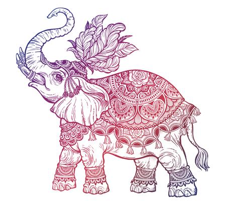 Vintage Indian ethnic boho elephant with feathers. Vector illustration.