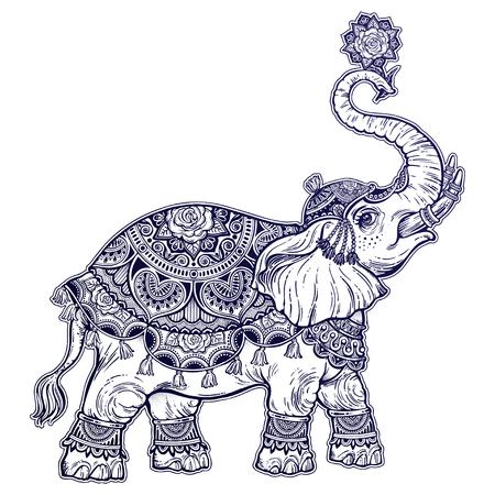 Vintage Indian ethnic boho elephant with rose. Vector illustration. Illustration