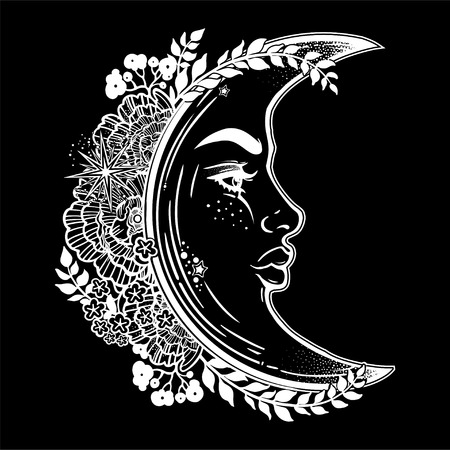 Romantic crescent moon as a beautiful woman face.
