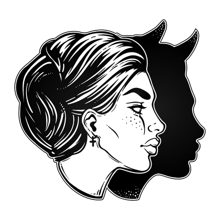 A beautiful woman with imp shadow head portrait. Vector illustration.