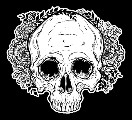 Human skull hand drawn, tattoo style with flowers.