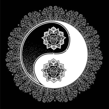Yin and Yang Tao mandala decorative symbol. Illustration