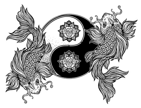 Koi carp fish ornate Asian animal Yin and Yang. Beautiful vintage oriental symbol of harmony, balance. Tao zen floral round decorative element. Vector isolated illustration.Tattoo, yoga, spirituality.