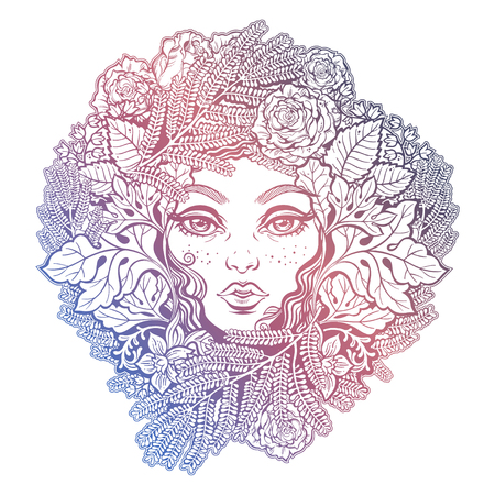 Celtic fairy elf. Shaman woman with the crown of ferns, leaves, flowers. Forest nature sprite and tree spirit. Pixie pagan princess. Alchemy, tattoo, print, t-shirt design. Isolated vector magic art.