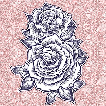 Seamless paisley rose background elegant pattern. Ilustracja