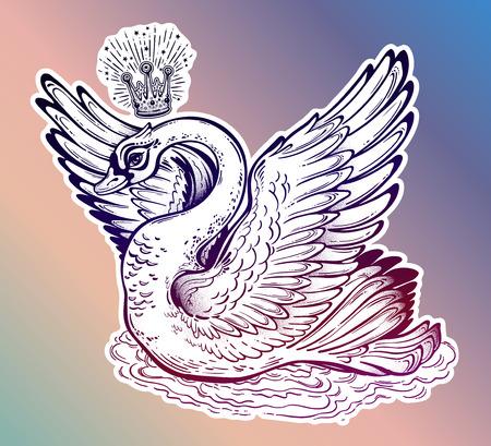 Beautiful fantasy swan princess bird. Vector illustration.