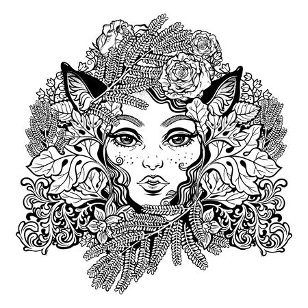 Celtic fairy elf illustration with animal ears. Illustration