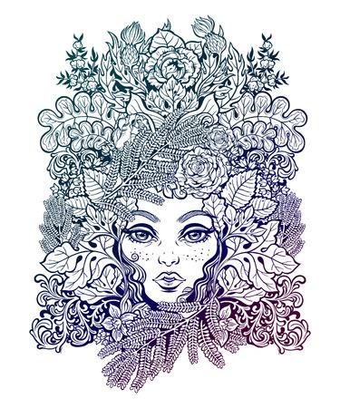 Celtic shaman fairy green elf illustration. Illustration