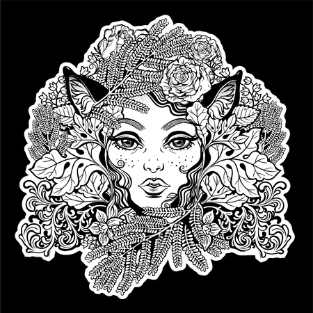 Celtic fairy elf. Shaman woman with animal ears of ferns, leaves, flowers. Forest nature sprite tree spirit. Pixie pagan princess. Alchemy, tattoo, print, t-shirt design. Isolated vector magic art.