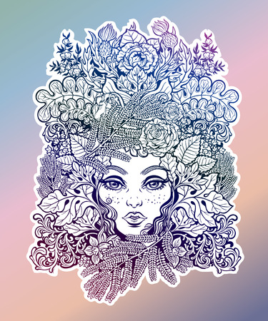 Celtic fairy green elf. Shaman woman with crown of ferns, leaves, flowers. Forest nature sprite tree spirit. Pixie pagan princess. Alchemy, tattoo, print, t-shirt design. Isolated vector magic art.