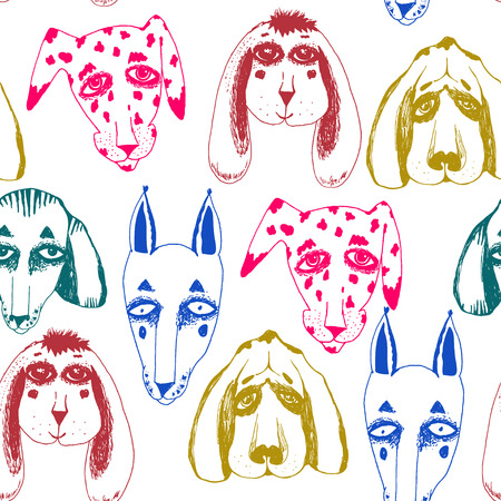 Vector naive hand drawn breed of dogs seamless pattern isolated. Doodle style puppy drawings for pet lovers background. Canine character repetition art in comic style. Illustration