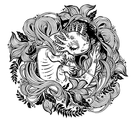 Axolotl, little salamander amphibian monster in circle ornate curl frame of leaves and herbs. Nature floral and animal line art. Botany, biology tattoo. Vector isolated illustration. Stock Vector - 106012999