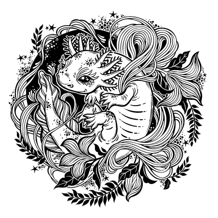 Axolotl, little salamander amphibian monster in circle ornate curl frame of leaves and herbs. Nature floral and animal line art. Botany, biology tattoo. Vector isolated illustration. Stock Vector - 106013015