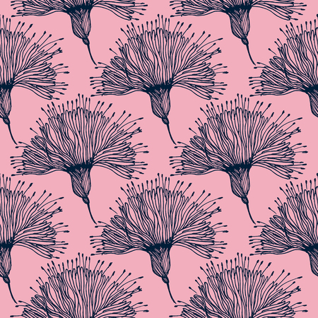 Seamless pattern for paper and textiles with hand drawn naive linear flower. Ethnic and nature, floral, retro, tribal design element. Isolated vector background.