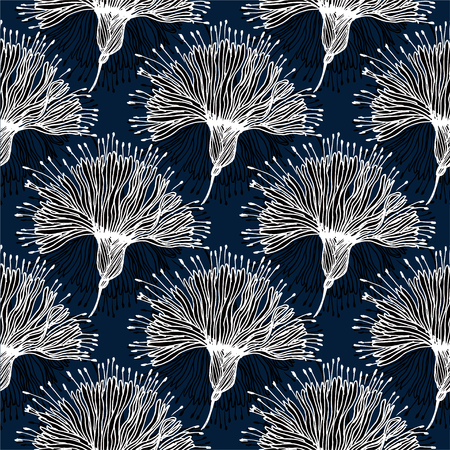 Seamless pattern with doodly naive linear flower. Stock Photo