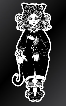 Little girl or a doll in vintage style wild black cat costume pagamas, curly hair. For t-shirt design, print or post card. Steampunk fashion isolated vector illustration. Gothic art.