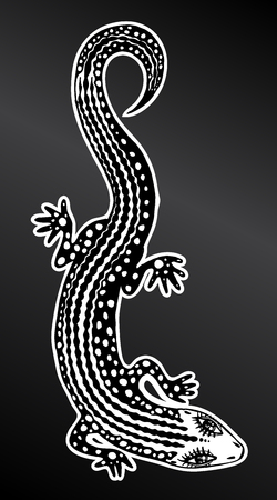 Hand drawn silhouette of a detailed exotic wild lizard. Animal reptile for print and tattoo. Isolated vector nature art.  イラスト・ベクター素材