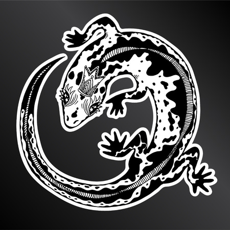 Hand drawn silhouette of a detailed exotic wild magic lizard in a crown. Animal reptile for print and tattoo. Isolated vector nature art. Ilustração