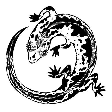 Silhouette of a detailed exotic wild lizard. Banco de Imagens