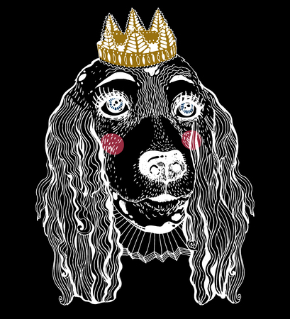 Portrait female pet Spaniel dog with royal crown.