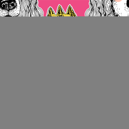 Seamless pattern of cute doodle female pet Spaniel dog with royal crown. Vector illustration tile background. Pet princess. Cute puppy for a wallpaper, textile, print for clothes and accessories.
