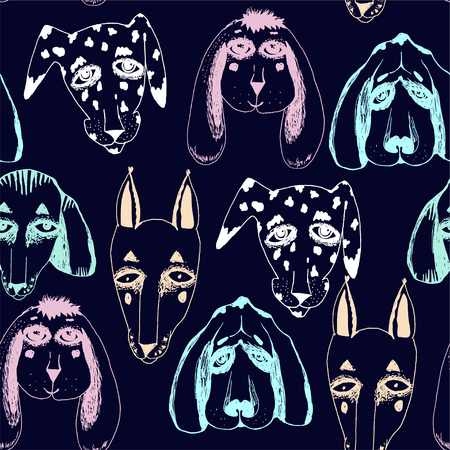 Vector naive hand drawn breed of dogs seamless pattern isolated. Doodle style puppy drawings for pet lovers background. Canine character repetition art in comic style. Ilustrace
