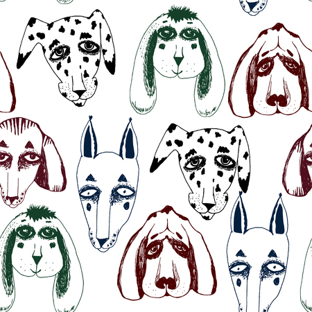 Vector naive hand drawn breed of dogs seamless pattern isolated. Doodle style puppy drawings for pet lovers background. Canine character repetition art in comic style. Vettoriali