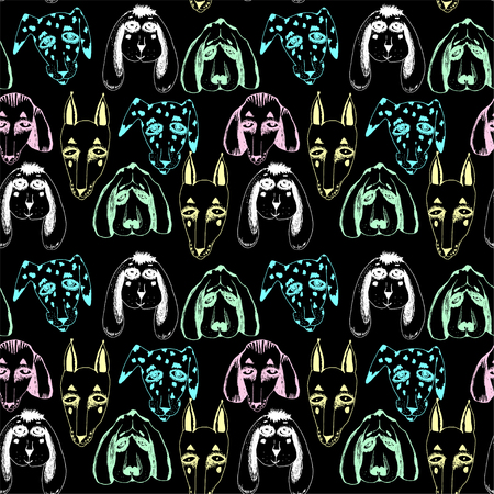 Dogs seamless pattern. Doodle puppy background.