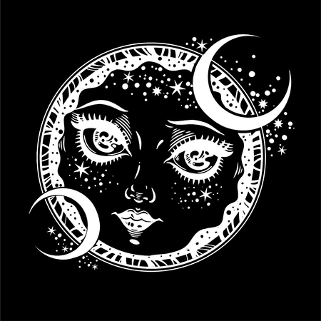 Nature vintage style magic night diety as crescent moon. Hand drawn portrait of a planet with face of a girl. Alchemy, religion, spirituality, occultism, tattoo art. Isolated vector illustration. Ilustrace