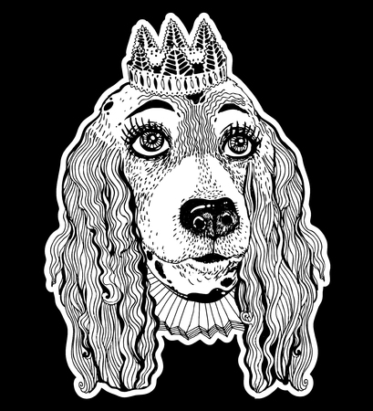 Portrait of the doodle female pet Spaniel dog with royal crown and vintage collar. Vector illustration isolated. Pet princess. Cute puppy for a postcard or a poster, print for clothes and accessories.