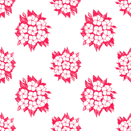 Seamless pattern for paper and textiles with hand drawn naive linear Hydrangea flower bells. Ethnic and nature, floral, retro design element. Isolated vector background.