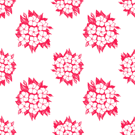 Seamless pattern with Hydrangea naive flowers.