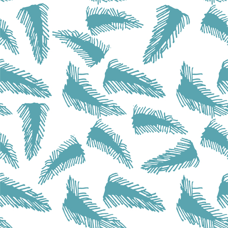Abstract vector feather seamless pattern for clothes design. Trendy fabric print backdrop. Geometric improvisation on a classical motive. Textile, Fabric, Wallpaper. Illustration