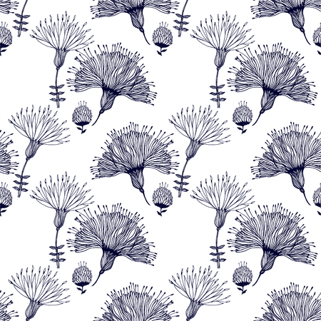 Seamless pattern for paper and textiles with hand drawn naive linear flowers. Ethnic and nature, floral, retro, tribal design element. Isolated vector background.