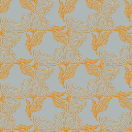 Seamless pattern with aster chrysanthemum flowers. Illustration